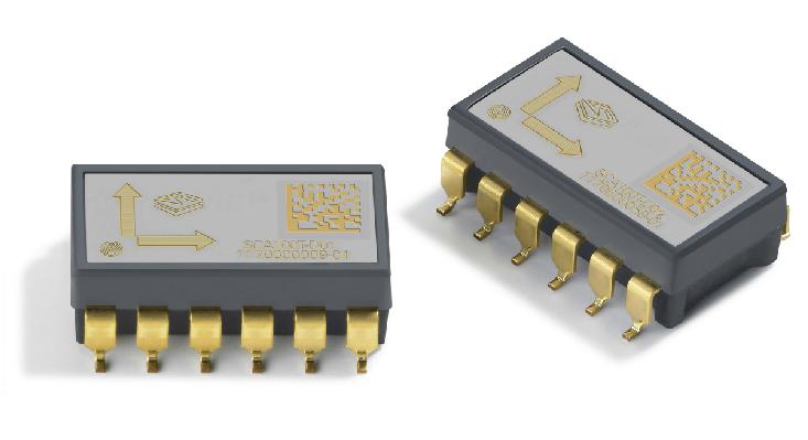 VTI的SCA100T-D02型高精度双轴倾角传感器。本网站代理产品图。   在具体运行过程中,开关量信号接继电器线圈,当距离达到设定值时,控制机器停车。模拟量信号进PLC,通过检测吊车侧面到边缘的实时距离,与PLC内部设定的最大值比对,进行轨迹自动纠偏控制。   当模拟量输出实时信号的测量值,达到PLC设定的最小值时,说明轮胎吊已经向外跑偏,此时纠偏系统开始启动,轮胎往内侧偏转纠正。当测量值小于设定的最小值,纠偏系统停止。同理,当测量值达到PLC设定的最大值时,说明轮胎吊已经向里跑偏,纠偏系统开始